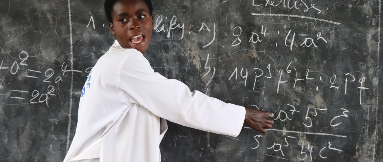 Mrs Marie Solange Nyirazaninka teaching maths