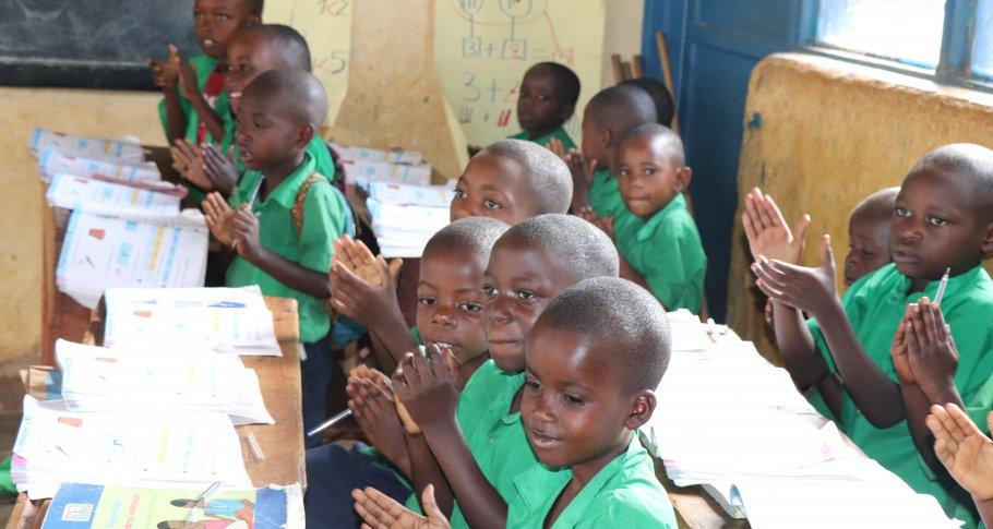Students at G.S Nyagasambu school welcoming visitors