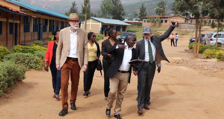 Ambassador Benoit Ryelandt and Johan Debar touring G.S Nyagasambu school